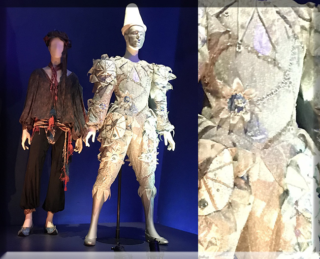 """Ashes to Ashes"" Pierrot/Major Tom costume designed by long time collaborator Natasha Korniloff. The pictures do not do this costume justice. Behind is the lesser known 'Screaming Lord Byron' from ""Blue Jean"" video."