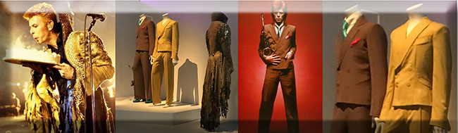 Some exquisitely tailored suits by designed by Ola Hudson and a later creation by Alexander McQueen for his 50th Birthday concert.