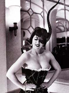 The Beautiful Miss Blow. Isabella Blow wearing a hat by Philip Treacy, corset by Alexander McQueen and photographed by Mario Testino